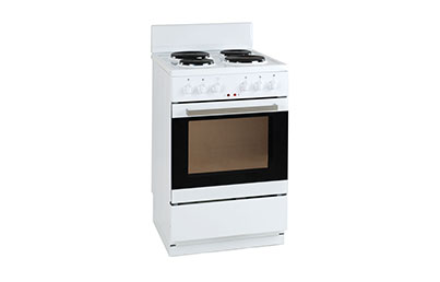 50cm FSCEW4, 50cm, 58 Liters,  White Electric Oven  w/ a 4 Solid Hot Plates Hob, 8kW.