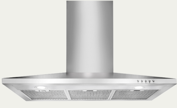 Canopy-Wall-Mount Range Hood Extraction/Recirculation, 90cm RHCWM-3 EXT/REC Stainless Steel Finish, 90cm, 760 m3/h,