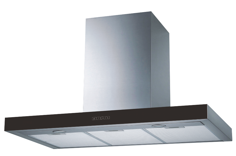 T-SHAPE-Wall-Mount Range Hood Extraction, 90cm RHTWM-2 EXT/REC, Stainless Steel Finish with Black Facia, 90cm, 850 m3/h,