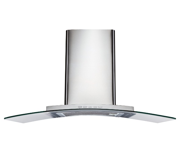 Curved Glass-Wall-Mount Range Hood Extraction, 90cm RHCWM-5 EXT/REC, Stainless Steel Finish, 90cm, 850 m3/h,
