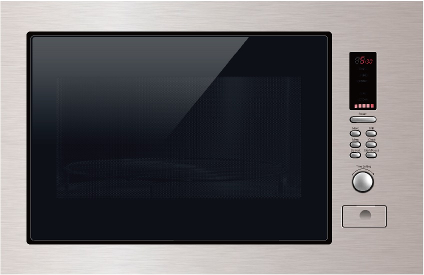 BUILT-IN MICROWAVE OVEN (MWO-03S) with Trim Kit, + Grill + Steam Vessel Stainless Steel Finish, Stainless Steel Cavity with Ceramic Glass base for Easy Cleaning